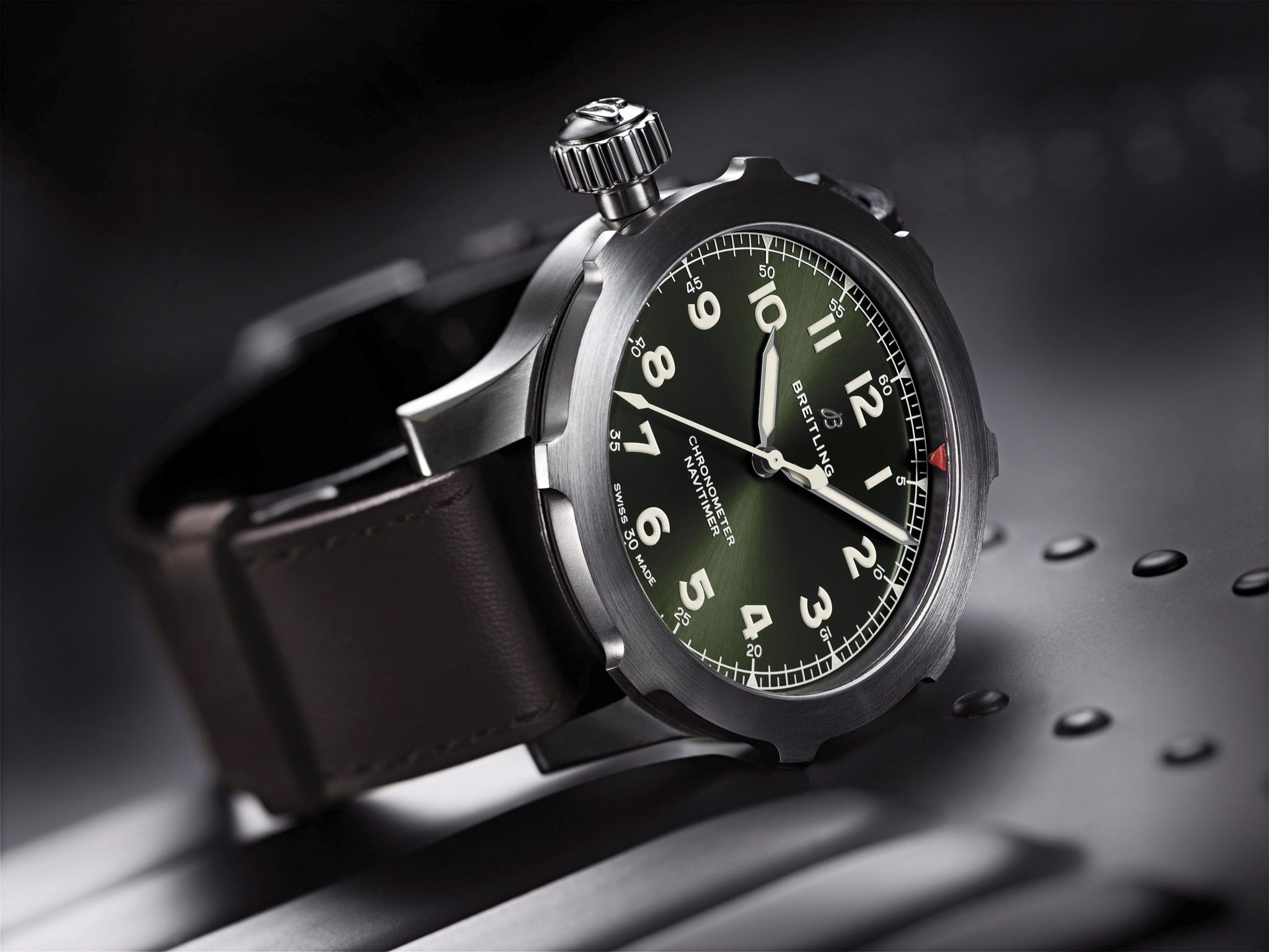 Breitling Navitimer Super 8 in titanium with Military green dial