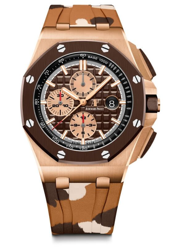 Audemars Piguet Royal Oak Offshore Cronógrafo Camuflaje marron frontal blog debajo del reloj