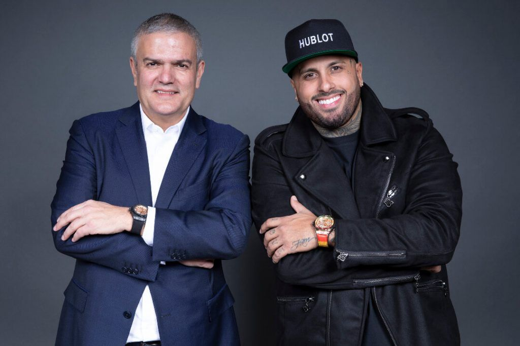 l_hublot ceo ricardo guadalupe and hublot ambassador nicky jam at the launch of the big bang meca 10 nicky jam blog debajo del reloj